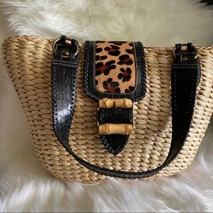 Straw handbag w/Animal Print accents Kate Landry